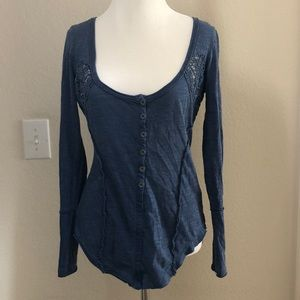 Free People Long Sleeve Blue Lace Detail Top